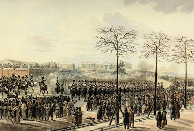 Image - The Decembrist Uprising of 1825 (painting by Karl Kolman).