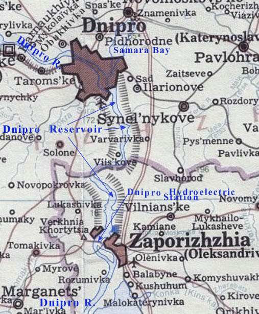 Image -  Map of the Dnipro Reservoir