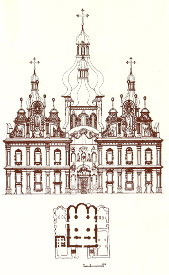 Image - The Dormition Cathedral of the Kyivan Cave Monastery (floor plan and western facade).