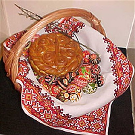 Image - Traditional Ukrainian Easter basket on display at the Ukrainian Museum in New York.