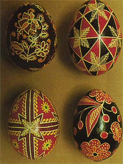 Image - Ukrainian Easter eggs (from left to right, top then bottom): first three fom Pokutia, Sokal area.