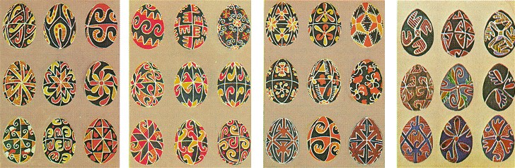 Image - Geometric motifs on Ukrainian Easter eggs, some from the Neolithic Trypilian era, Skvyra county, Kyiv gubernia, 1906 (from V. Shcherbakivsky's Ornamentation of the Ukrainian Home (Rome 1980).