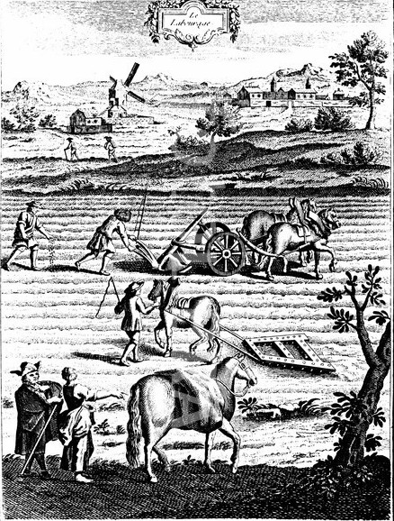 Image - Engraving: Peasants plowing with horses.
