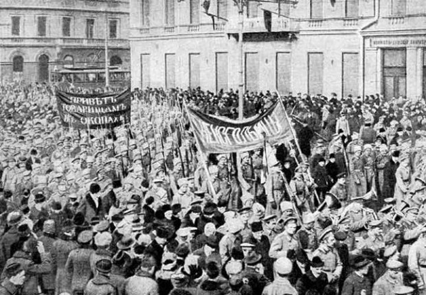 Image - The February Revolution of 1917: a demonstration in Petrograd.