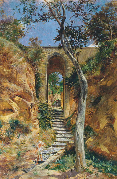 Image - Mykola Ge: Bridge in Vico (1858).