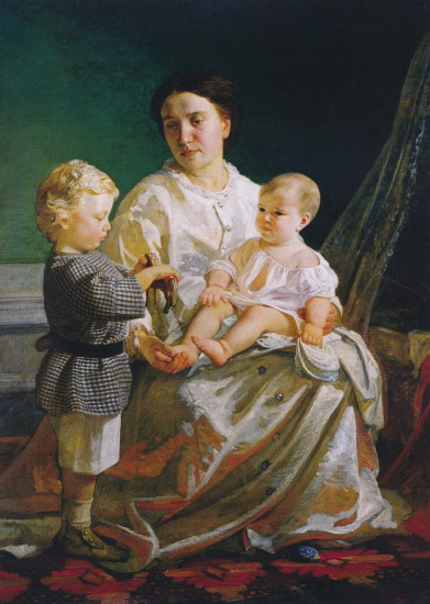 Image - Mykola Ge: Portrait of Artist's Wife and Children (1860s).