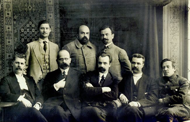 The first General Secretariat of the Central Rada (1917). Sitting, from left: Steshenko, Baranovsky, Vynnychenko, Yefremov, Petliura. Standing: Khrystiuk, Stasiuk, Martos.