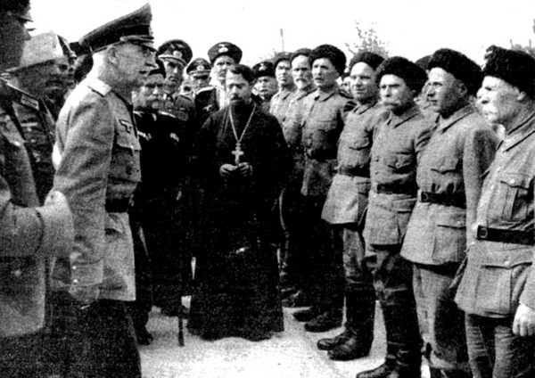 Image -- German officer with the Russian Liberation Army (ROA) soldiers and Orthodox priests.