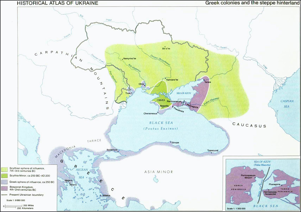 Image -- Greek colonies on the northern Black Sea coast and Scythia. (Map from: Magocsi, P. R. Historical Atlas of Ukraine. University of Toronto Press, 1985.)