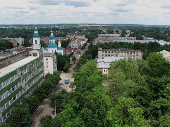 Image - Hlukhiv: city center (aerial view).