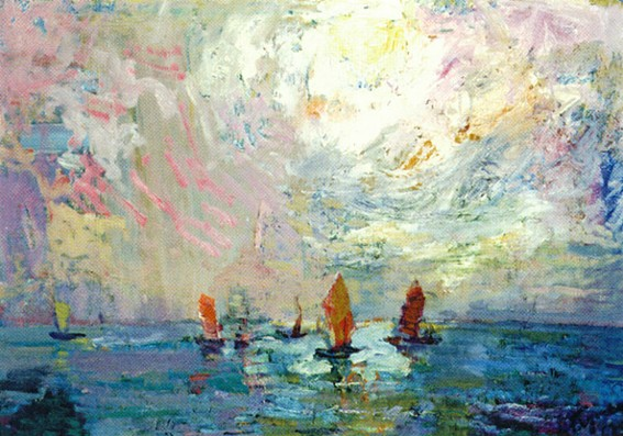 Image - Mykola Hlushchenko: Approach of the Boats (1957).