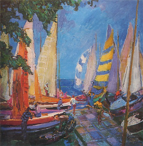 Image - Mykola Hlushchenko: Boats in a Haven (1975).