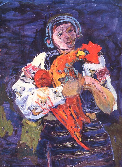 Image - Mykola Hlushchenko: A Hutsul Woman with Rooster (1962).