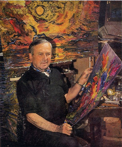 Image - Mykola Hlushchenko with his paintings.