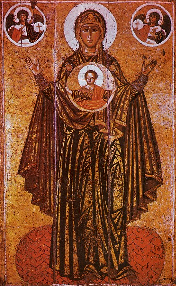 Image - Icon of Virgin Platytera (Orans) (12-th century) attributed to Master Olimpii.
