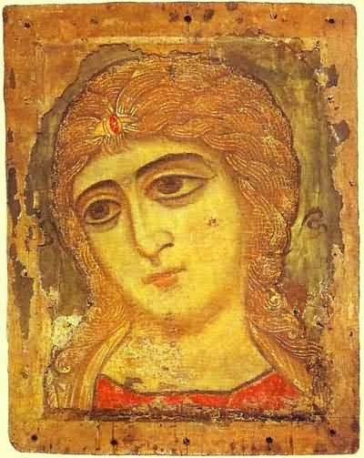 Image - Icon: Archangel Gabriel or Angel with Golden Hair (12th-century).