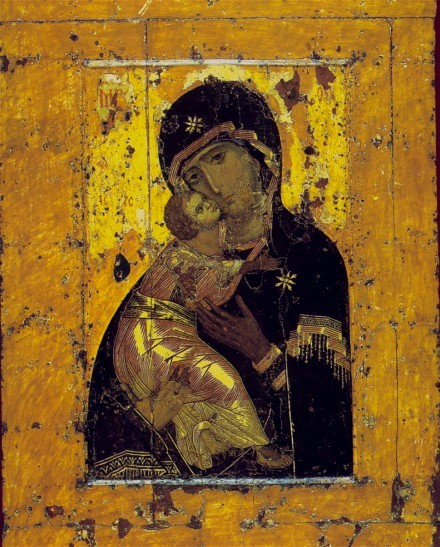 Image - Icon: The Vyshhorod Mother of God (later known as the Vladimir Mother of God) (Byzantine, 12th-century).