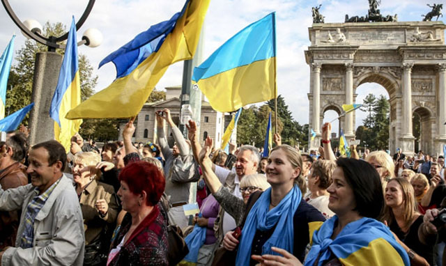 Image - Members of the Ukrainian community in Rome, Italy.