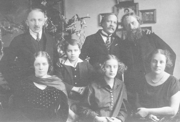 Image - Mykola Vorony and Oleksa Novakivsky with Ivan Holubovsky and his family.