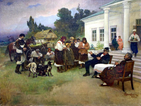 Image -- Ivan Izhakevych: Serfs being Exchanged for Dogs.