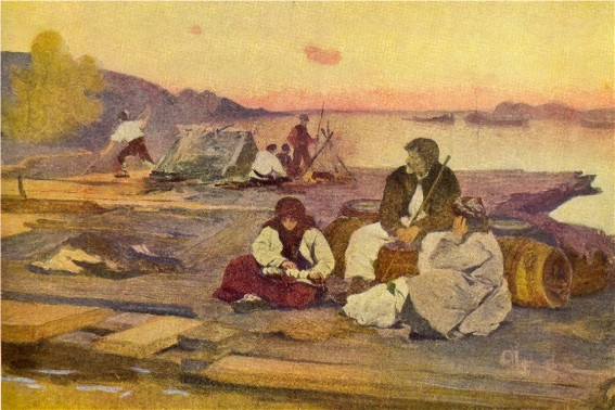 Image - Ivan Izhakevych: Travelers on the Dnieper (1902).