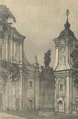 Image -- St. Joseph's Roman Catholic Church in Iziaslav (postcard, 1913).