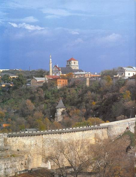 Image -- Kamianets-Podilskyi: panorama with view of SS Peter and Paul Roman Catholic Cathedral.