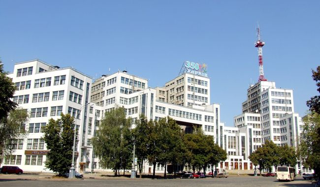 Image - The Derzhprom (State Industry) complex of high-rise office buildings in Kharkiv (1925-9, designed by Samuil Kravets, Sergei Serafimov, and Mark Felger),