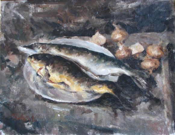 Image -- Vasyl Khmeliuk: Still Life with Fish.