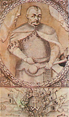 Image -- Bohdan Khmelnytsky (illustration to Samiilo Velychko's chronicle, 1720).