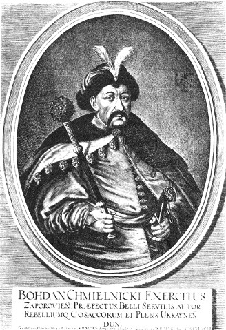 Image -- Portrait of Hetman Bohdan Khmelnytsky by Willem Hondius (1651).
