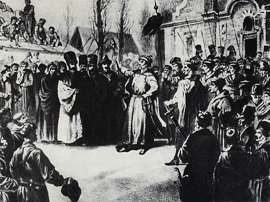 Image - Bohdan Khmelnytsky speaks to Cossacks at Pereiaslav in 1654.