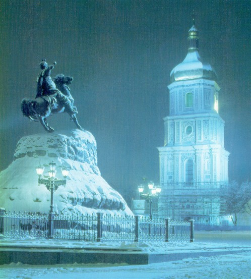 Image - Monument of Bohdan Khmelnytsky and the bell tower of Saint Sophia Cathedral in wintertime.