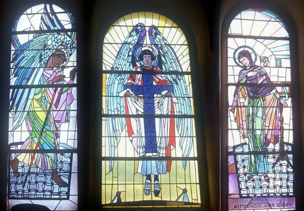 Image - Petro Kholodny: Stained glass windows in Dormition Church in Mrazhnytsia, Lviv oblast.