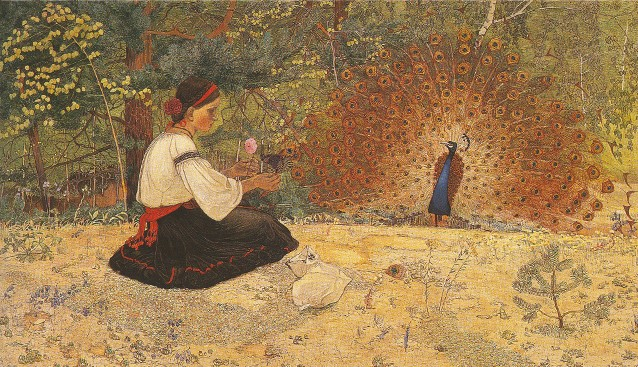Image - Petro Kholodny: A Tale of a Girl and Peacock (1916).