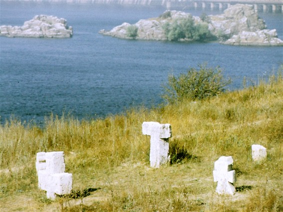 Image -- The Khortytsia Island: tombstones on Cossack graves.