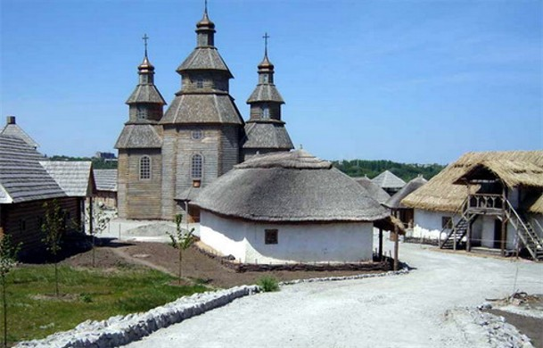 Image -- The church in the reconstructed Zaporozhian Sich complex on the Khortytsia Island.
