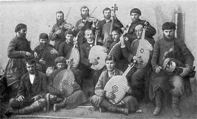 Image - Hnat Khotkevych and his kobzar ensamble at 12th Archeological Conference in Kharkiv (1902).