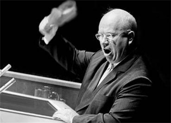 Image - the Khrushchev shoe-banging incident at the UN General Assembly in New York on 12 October 1960.