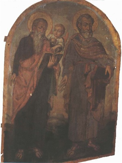 Image - Yov Kondzelevych: Icon of Apostles Peter and Matthew from the village of Voshatyn in Volhynia.