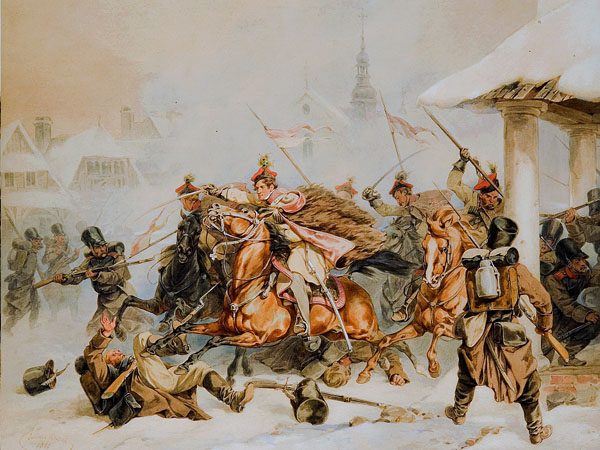Image - Juliusz Kossak: Cracow Rebels Attack Russians in Proszowice in 1846.