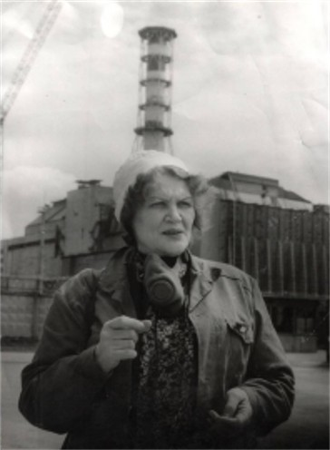 Image -- Lina Kostenko near the Chornobyl Nuclear Power Plant.