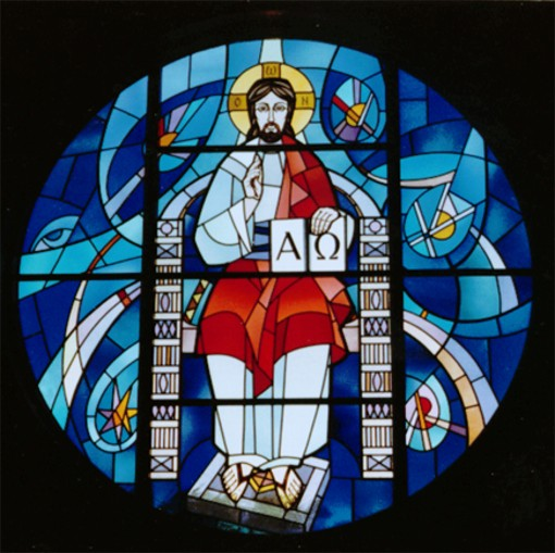 Image - Roman Kowal: Christ Enthroned, stained glass, 1960s, Saint Andrews Church, Winnipeg, Manitoba.