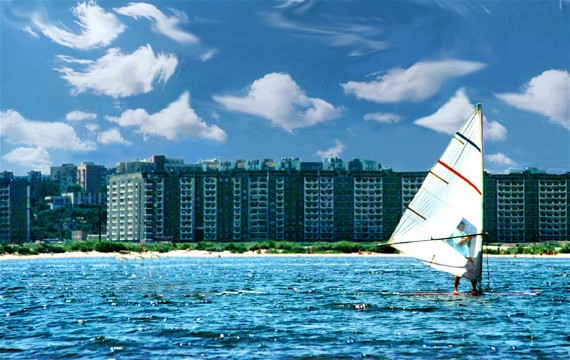 Image -- Wind-surfing on the Kremenchuk reservoir (Dnieper River) in Cherkasy.