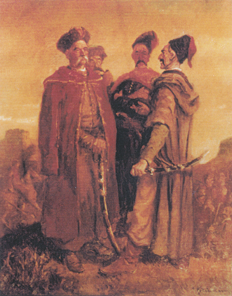 Image -- Boris Kriukow: A Cossack Council.