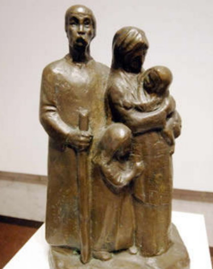 Image -- Hryhorii Kruk: Family of Refugees (1938).