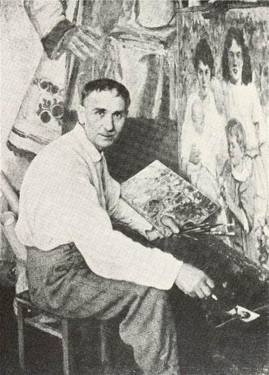 Image - Fedir Krychevsky with his paintings.