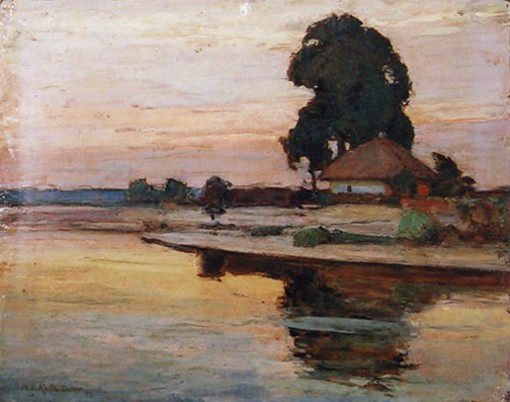 Image - Vasyl H. Krychevsky: Dusk on the Psiol River (1948).