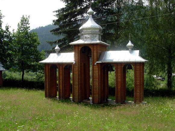 Image -- A belfry of the church in Kryvorivnia in the Hutsul region.
