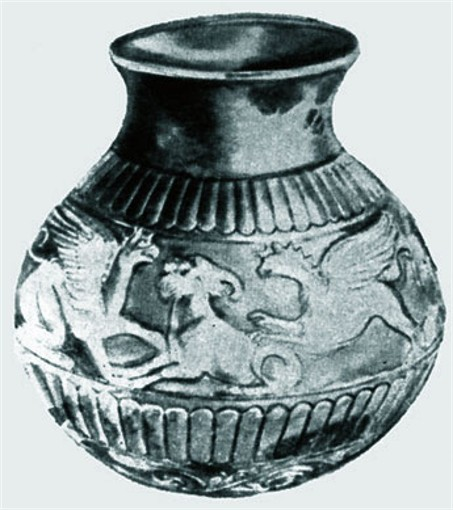 Image -- A Scythian silver vase from the Kul Oba kurhan.
